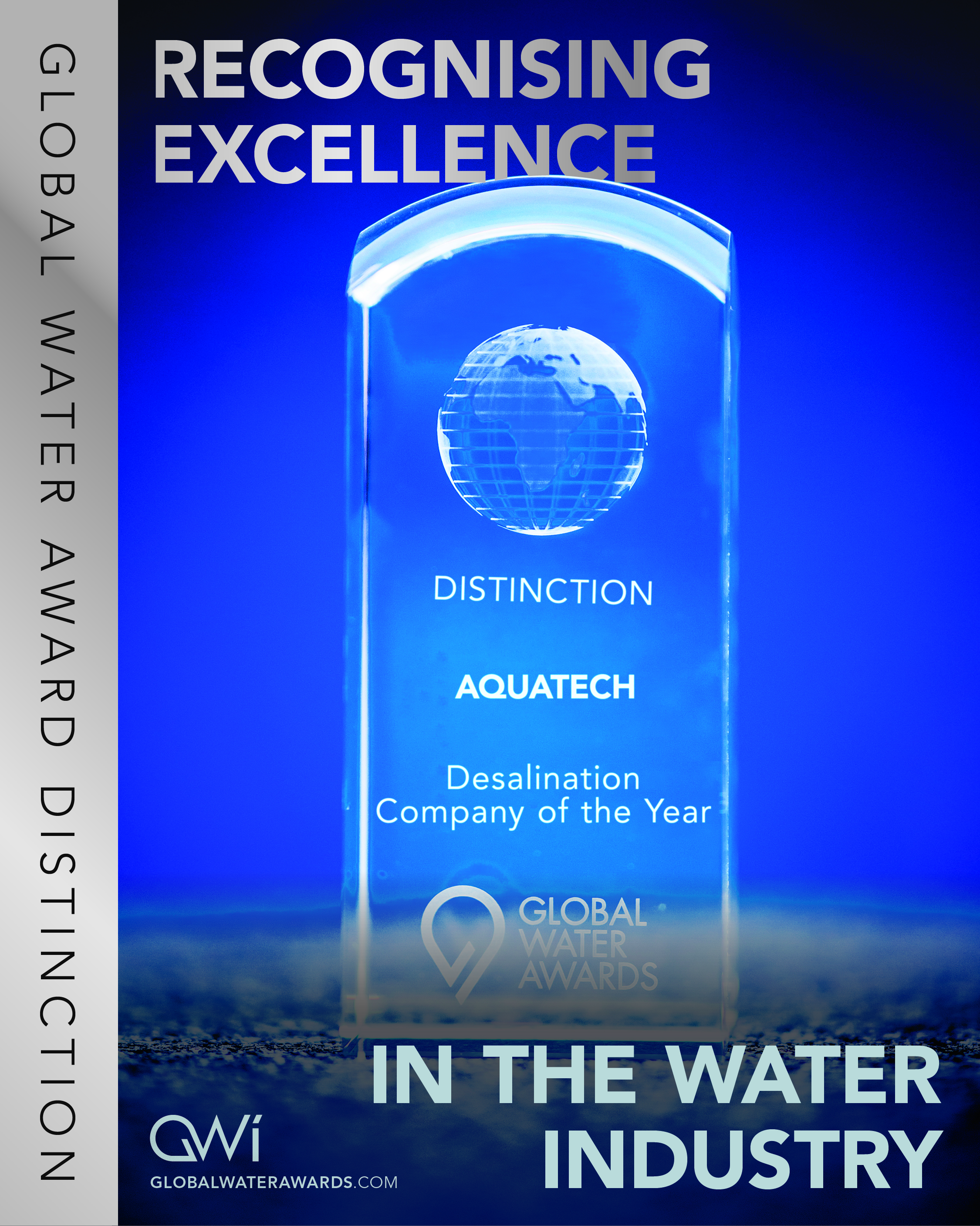 Desal Company Distinction trophy - with text